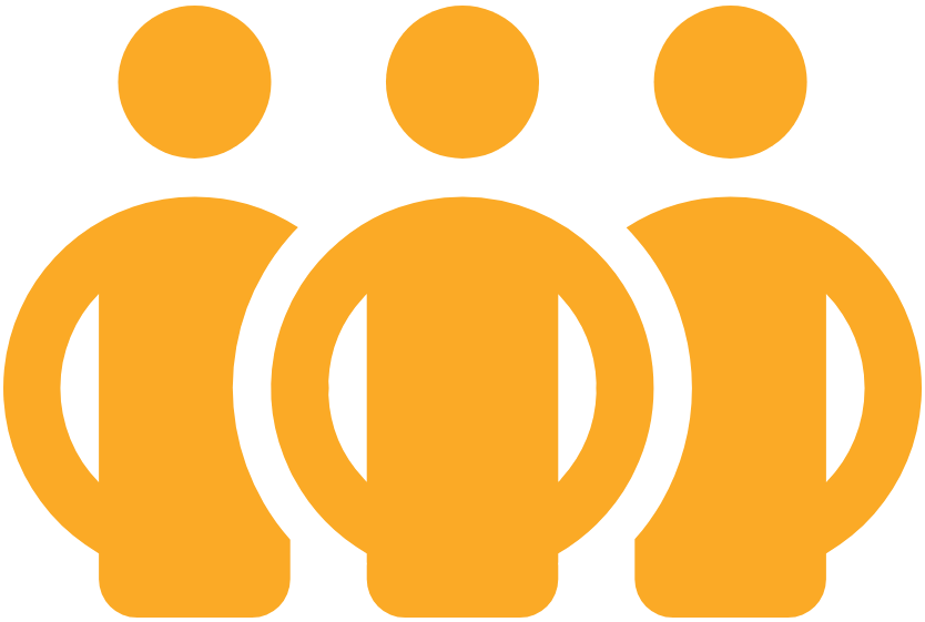 Three yellow figures standing shoulder-to-shoulder - used as the icon for IASC Strategic Priority 3 on Collective Advocacy