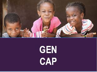 GenCap Logo and the photo to the website photo, three kids smiling.