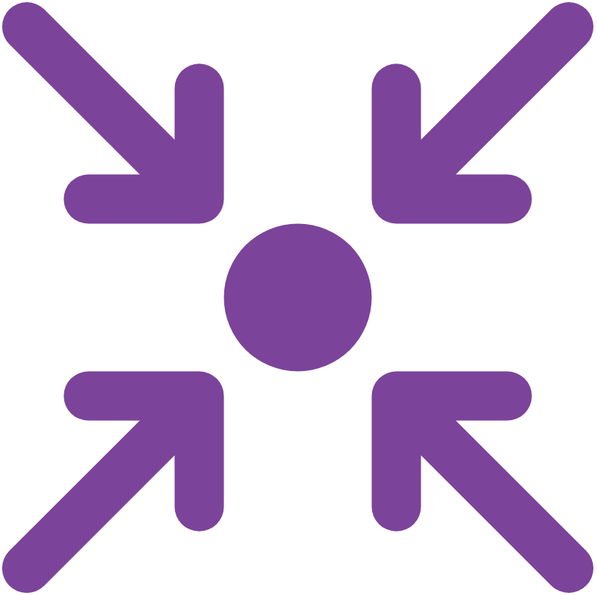 Four purple arrows converging on a point, the icon used for IASC strategic priority 1 on operational response