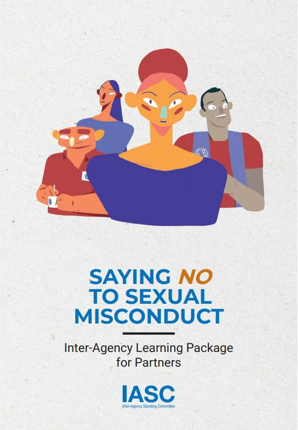 Cover of the brochure: Saying no to Sexual Misconduct, IASC Learning Package for Partners