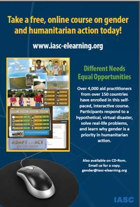 A thumbnail of a flier for the training 'Different Needs - Equal Opportunities' which reads 'Take a free, online course on gender and humanitarian action today'.