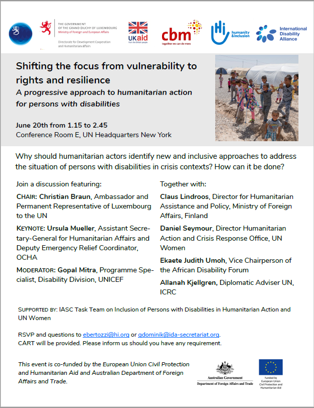 An image of the flyer for the event 'shifting the focus from vulnerability to rights and resilience'. This event took place in mid-2018, for details on the invitation, please contact the IASC secretariat.