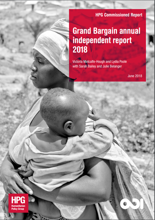 The cover of the Grand Bargain annual independent report 2018, depicting a woman carrying a young child against her shoulder.