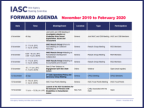 A screenshot of the IASC forward agenda, a blue table, with illegible text.