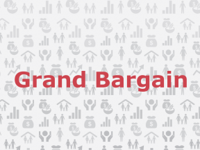 An image of text which reads 'Grand Bargain' with a background of gray icons.