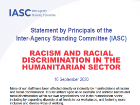 Thumbnail, Statement by Principals of the Inter-Agency Standing Committee (IASC), Racism and Racial Discrimination in the Humanitarian Sector.JPG
