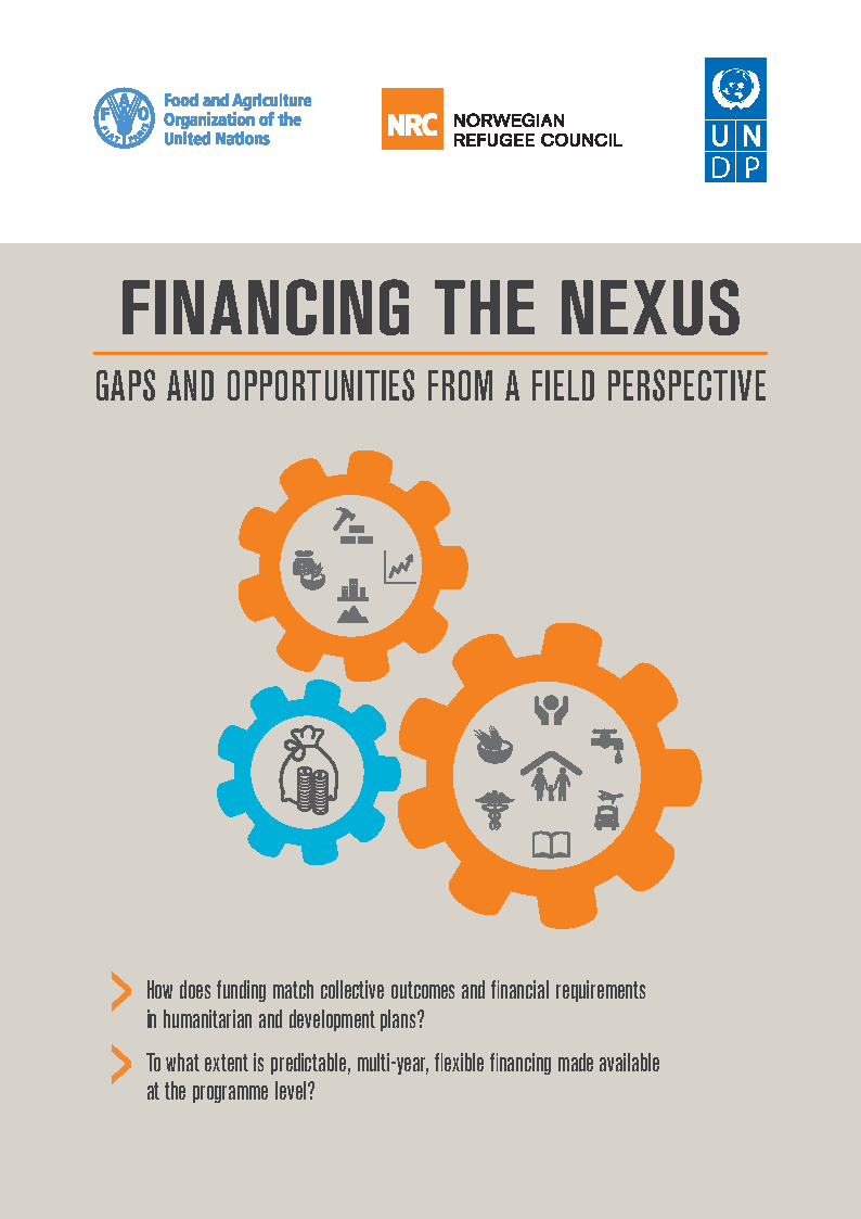 The cover page of the Financing the Nexus report, depicting a set of interlinking cogs.