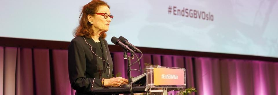 UNICEF Executive Director, Henriette Fore, delivering a statement at End SGBV Oslo 2019.