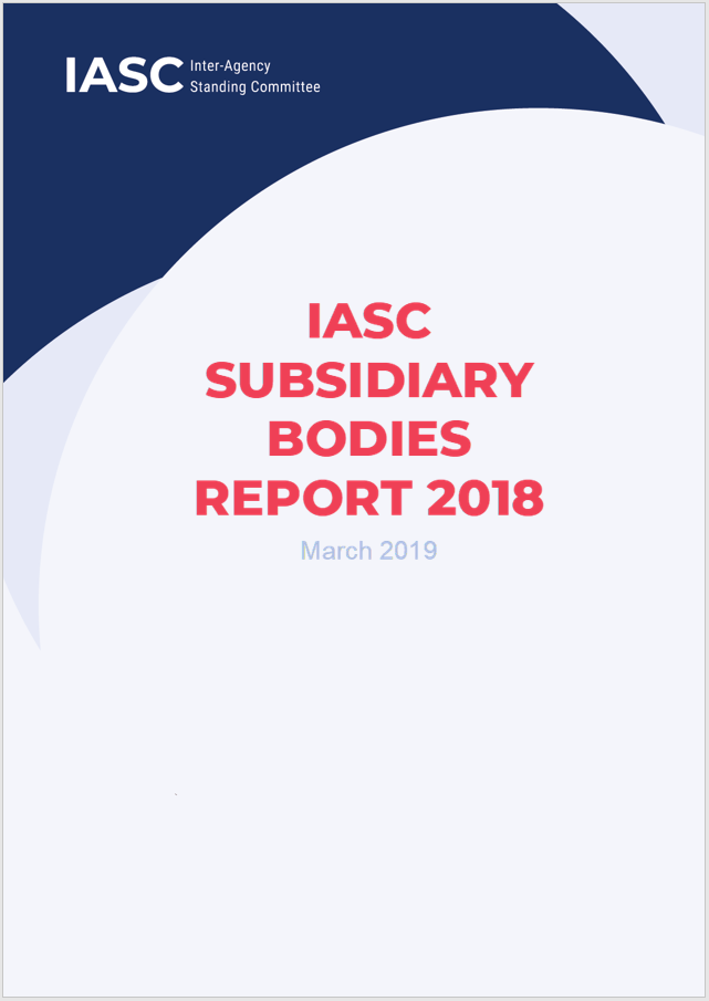The cover page of the IASC Subsidiary Bodies Report 2018, which shows the publication date as March 2019