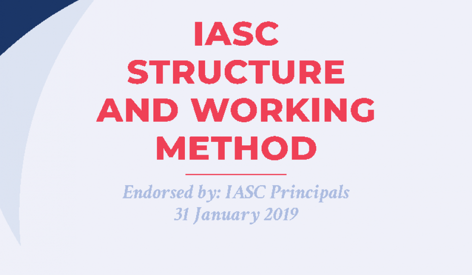 The cover page of the IASC structures and working method 2019-2020 paper, which links to the document itself.