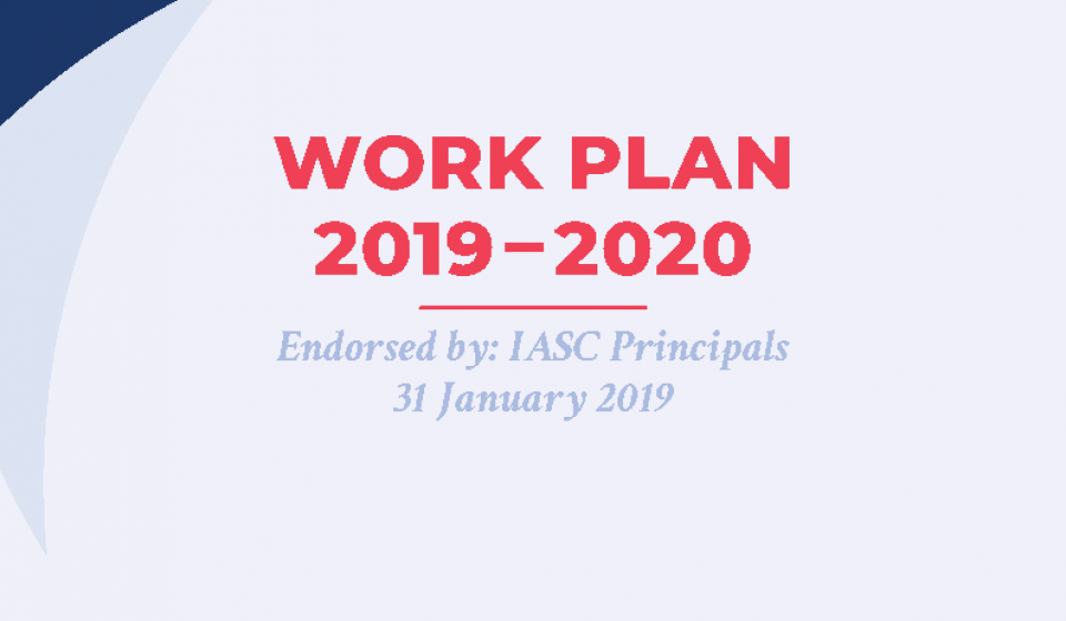 The cover page of the IASC workplan 2019-2020, which links to the document itself.