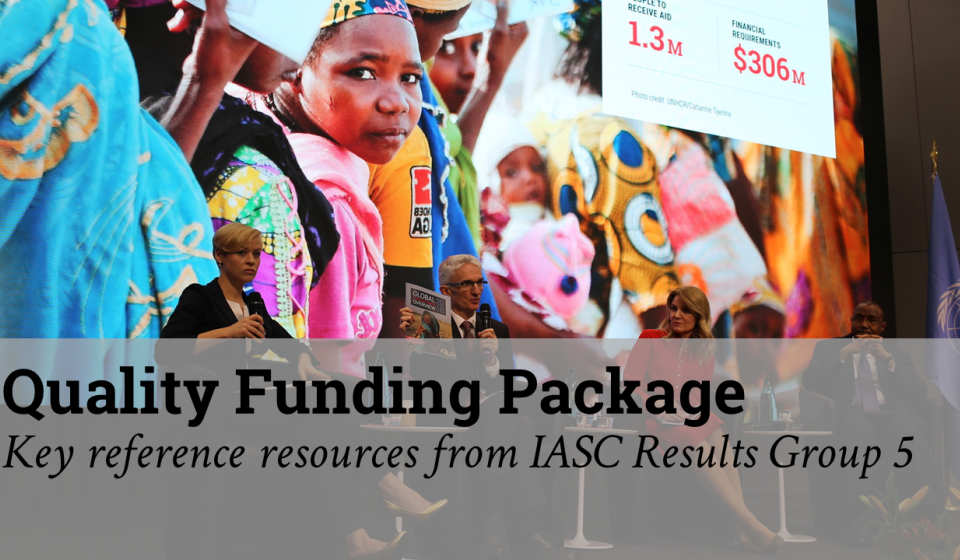 A photo of a girl in coulourful dress overlaid with the text 'Quality Funding Package: Key reference resources from IASC RG5