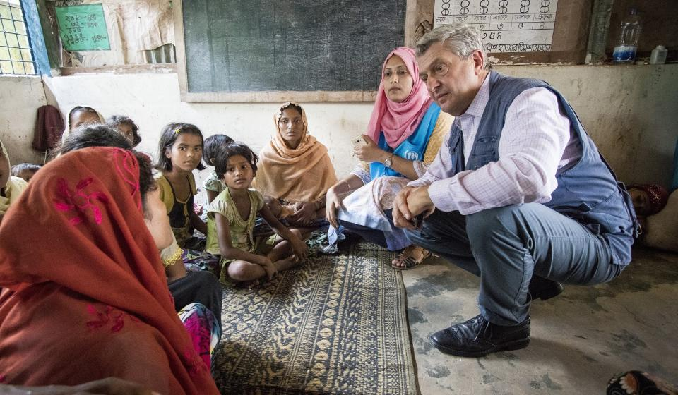 High Commissioner Filippo Grandi talks to a family of vulnerable Rohingya refugees at Kutupalong camp in Cox's Bazar, Bangladesh