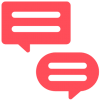 A red icon of two speech bubbles, one square, one round